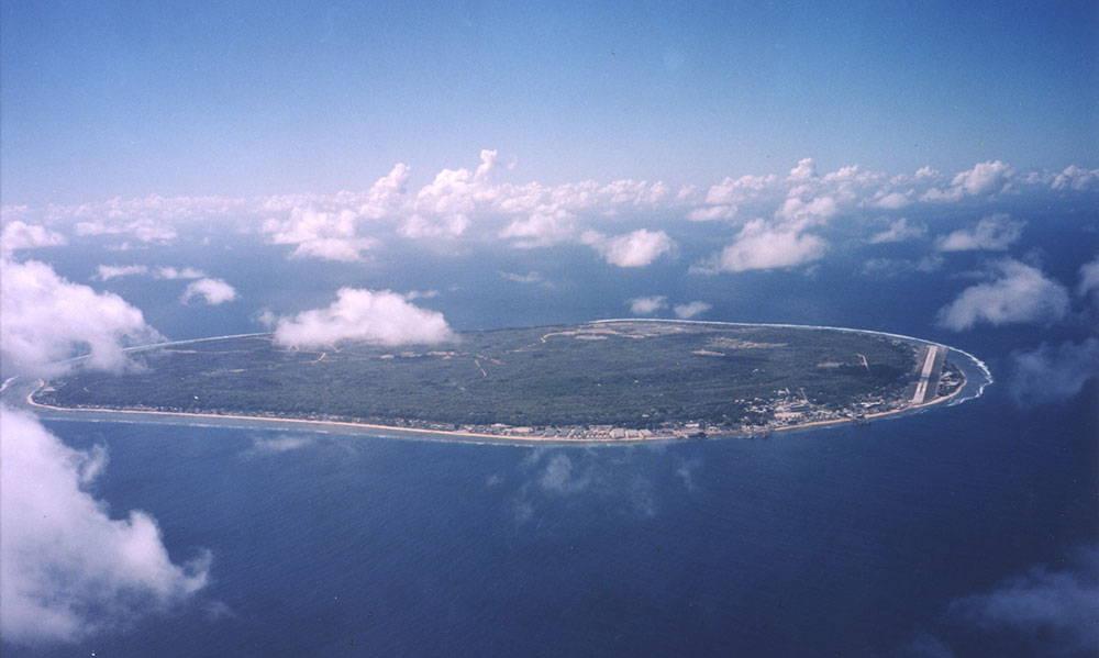 An aerial view of the island of Nauru.