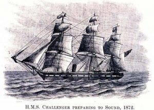 A black and white illustration of a three-masted sailing ship, the HMS Challenger.