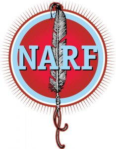 The logo of the Native American Rights Fund, the letters NARF pictured against a red background with a white feather