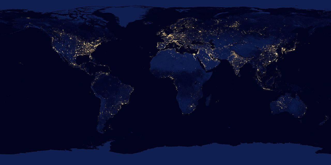 A composite image of the earth at night