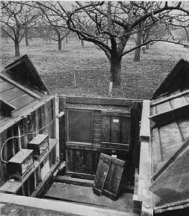 A black and white photograph of a wooden cellar in an orchard