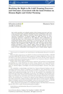 """Page of text, entitled """"""""Realizing the Right to Be Cold? Framing Processes and Outcomes Associated with the Inuit Petition on Human Rights and Global Warming."""""""
