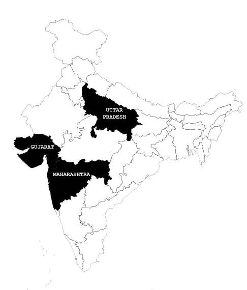Map that shows the Indian states that have beef testing kits