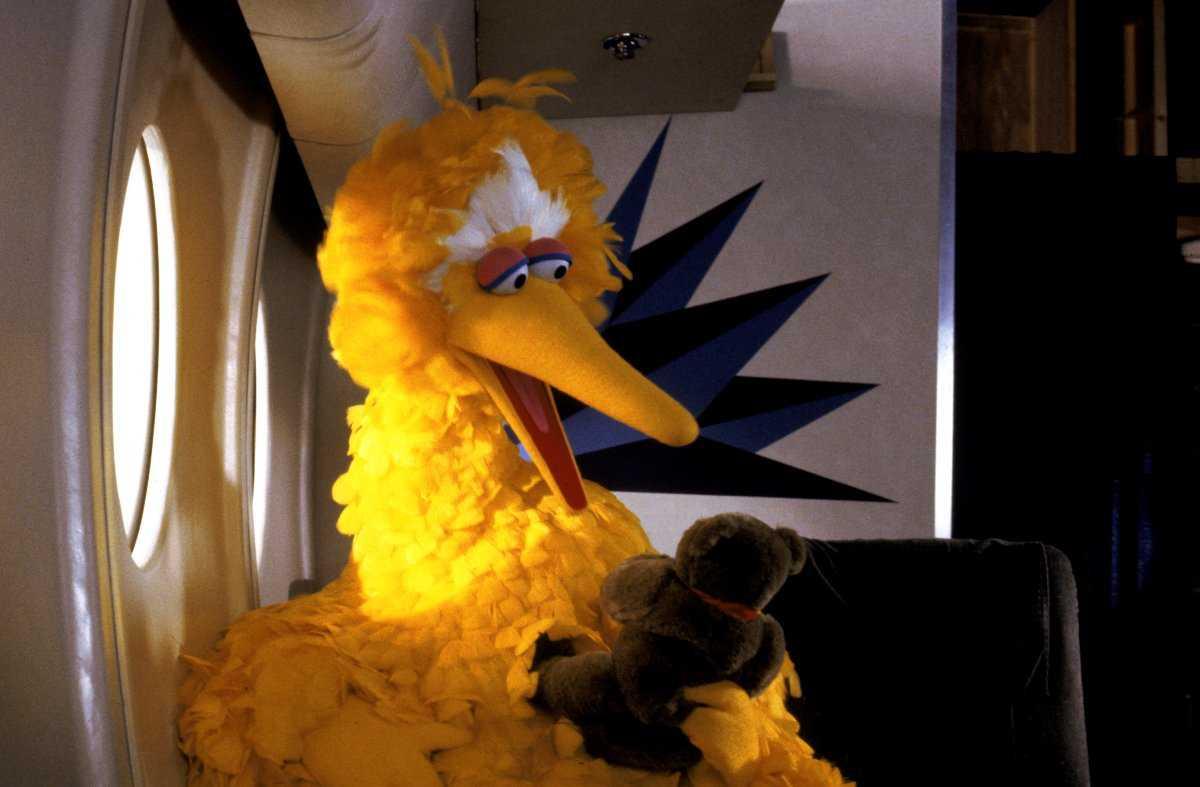 Large yellow bird holds teddy bear on an air plane