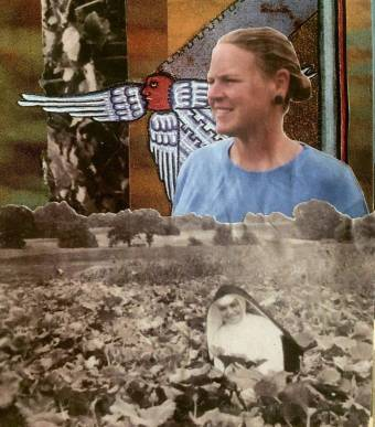 Collage combines a black and white image of a nun in a field, a woman in color above, and art from the Middle Ages behind.