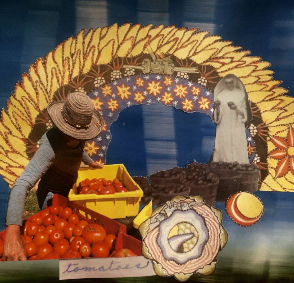Collage combines a farmer looking at tomatoes, a black and white nun, and a yellow sketched semi circle.