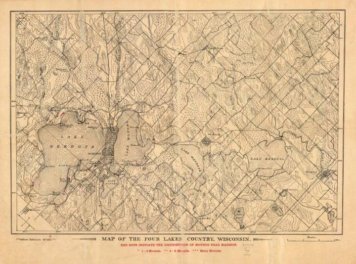 "This map oriented with north to the upper left shows railroads, creeks, post offices, smaller lakes, Lake Mendota, Lake Monona, Lake Wingra, Lake Waubesa, Lake Kegonsa, and location of Indian mounds in red. Printed in red below the title reads: ""Red dots indicate the distribution of mounds near Madison."""