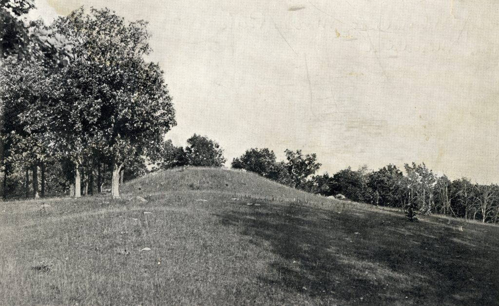 Indian mound with trees around it