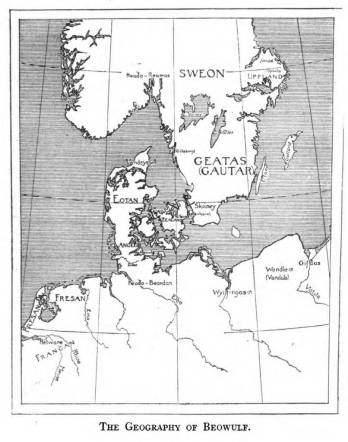 A black and white map of Beowulf's geography