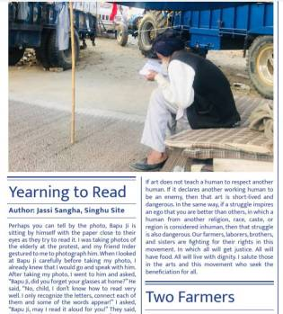 """Screenshot of a newsletter. Image shows an elderly man hunching over  a newspaper. Headline, """"Yearning to Read."""""""