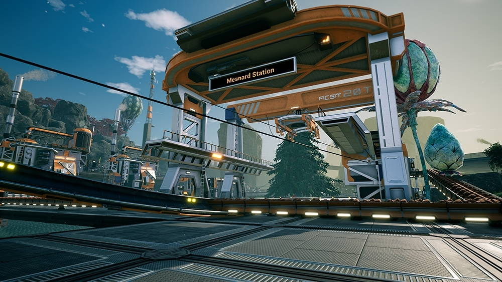 Screenshot of the game Satisfactory featuring the train station made by the author's family.