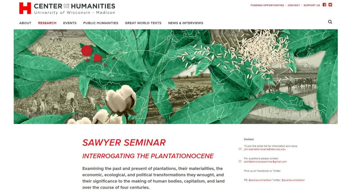 Screenshot of Interrogating the Plantationocene Sawyer Seminar website