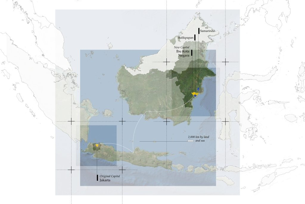 A map highlighting Jakarta and Ibu Kota Negara in relationship to each other