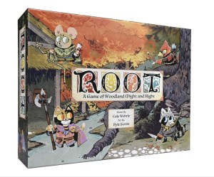 Cartoon animals and a burning forest on a board game box