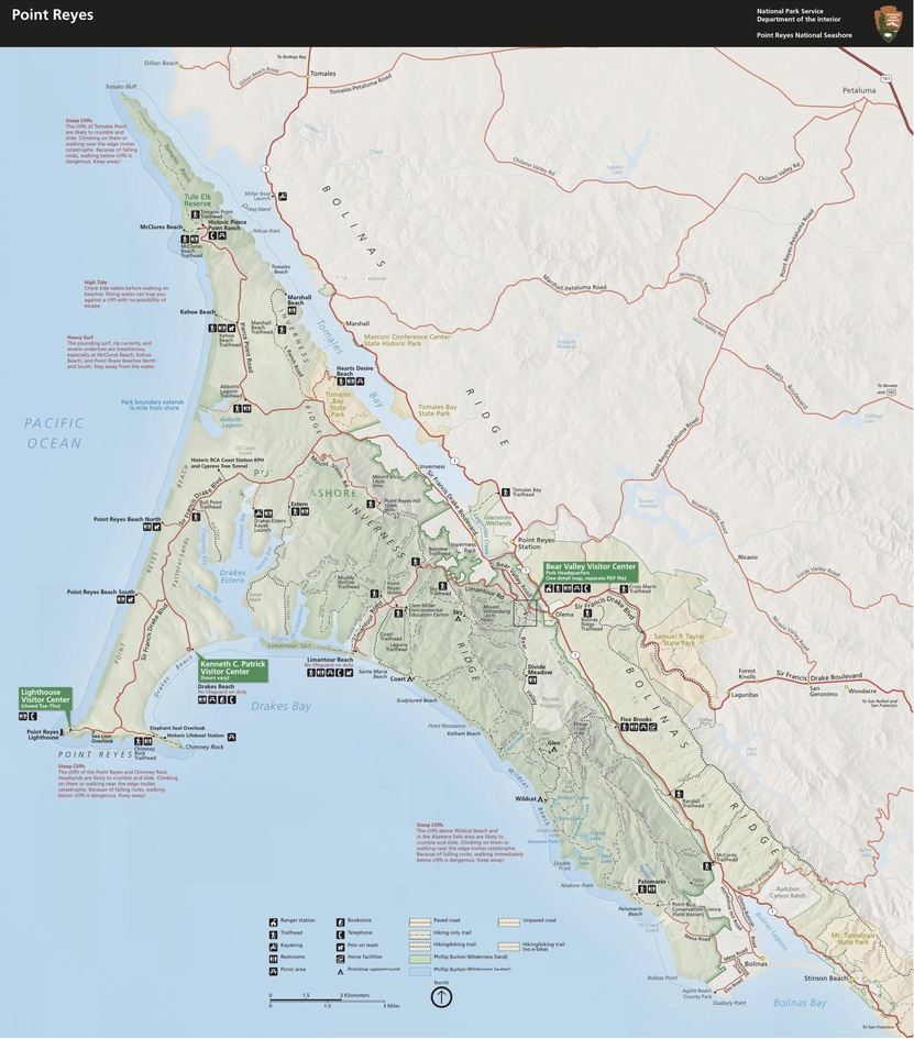 A map of Point Reyes National Seashore Park