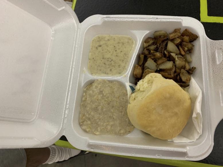 Breakfast items in a styrafoam container
