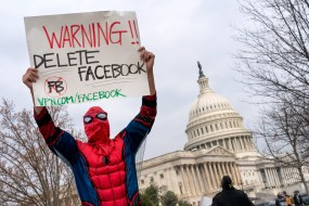 """Protester dressed as Spiderman in front of U.S. Capitol holds a sign that reads """"Warning! Delete Facebook"""""""