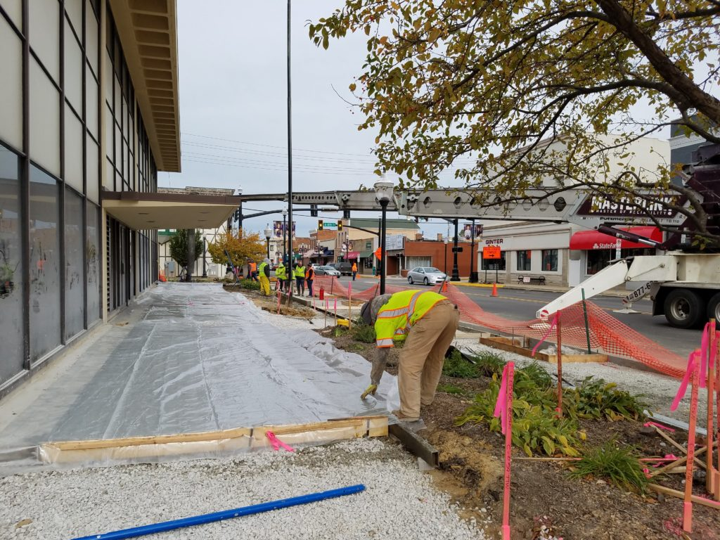 New permeable pavement is installed
