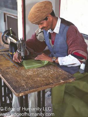 Man Sewing In Kathmandu, Nepal.