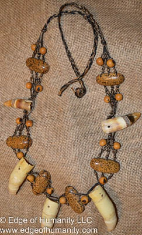 Indigenous necklace made with animal claws and seeds - Amazon Region, Brazil