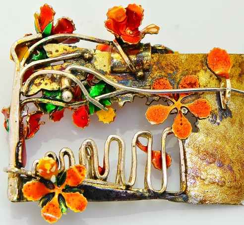 Sterling silver brooch depicting ornamental tree that flowers in Delhi during the spring called Flame Tree or Gulmohar.