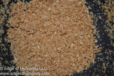 Toasted and crushed sesame seeds.