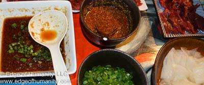 Sauce bowls and daikon