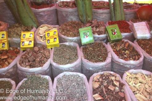 Malaysian food market stand.
