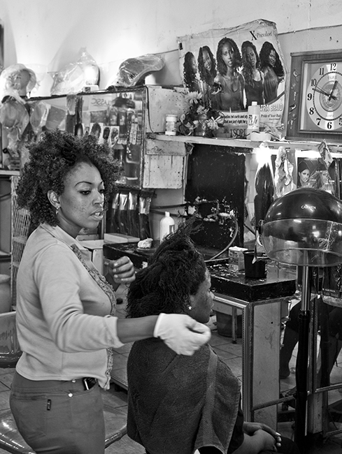 """""""THE streets"""" A simple shot in a hair-salon in downtown Johannesburg."""