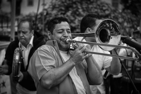 """""""Trombone player"""" Hola Festival in Knoxville, Tennessee, USA"""