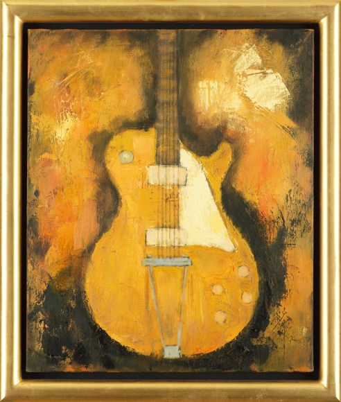JOHN ILLSLEY LES PAUL GOLD TOP OIL ON CANVAS 46 X 55 CM