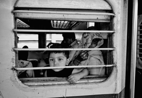 Mother & Son Railway carriage, India