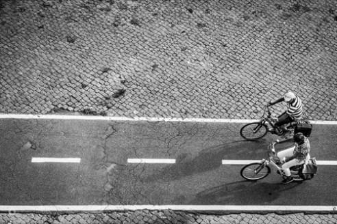 Cyclists along the Tiber Rome