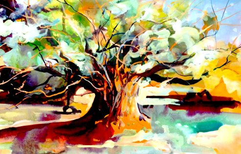 "Tree Richmond Park London - watercolour/gouache - 15"" x 22"""