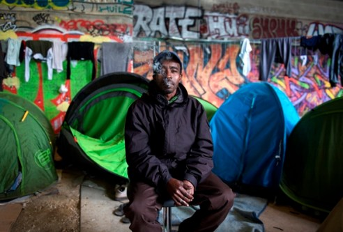Migrant Camp in Austerlitz Paris