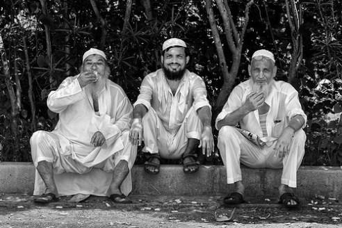 Taxi drivers on break. Mumbai, India.