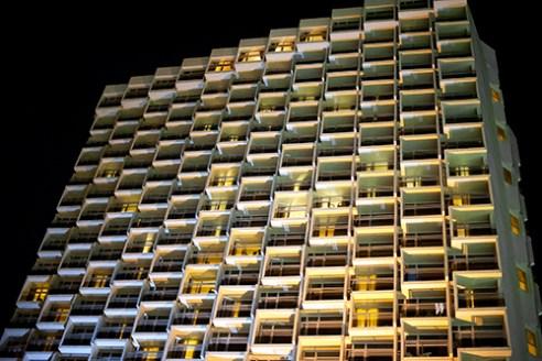 Modern building on promenade of Tel Aviv.