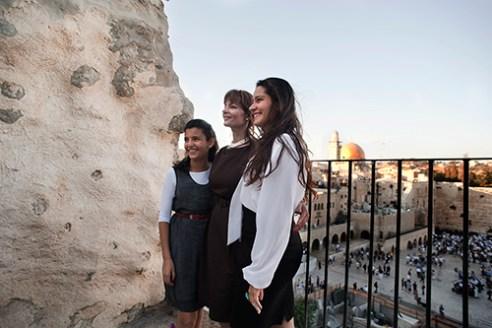 Jewish family take a photo near the Wailing Wall.