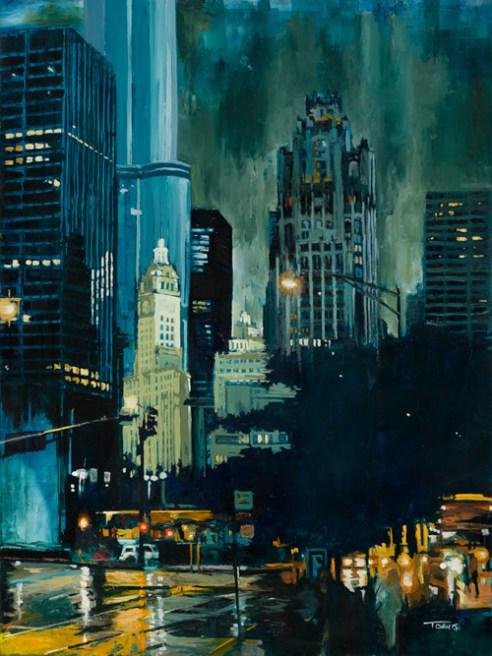 """E. Illinois & N. Columbus, Chicago"" Oil on panel"