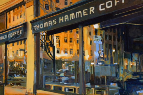 """Reflections in a Coffee shop Window at Night"" Oil on panel"