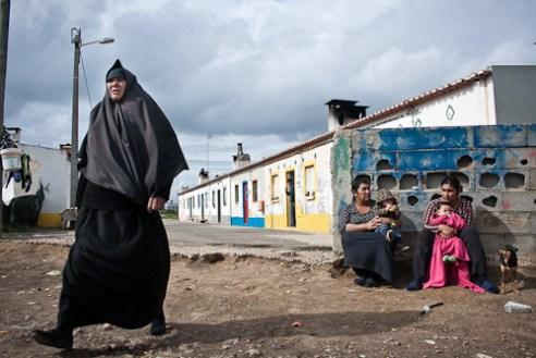 Women standing outside.