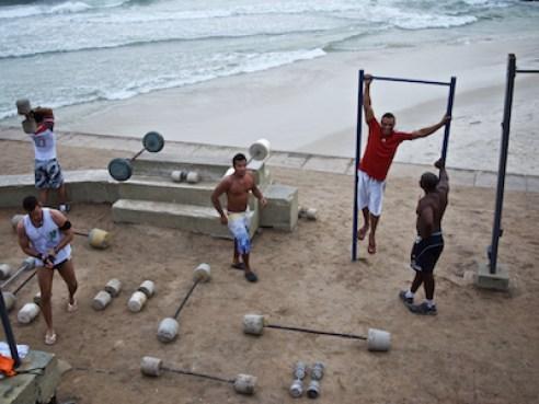 December 2011. Body builders, Arpoador between Copacabana and Ipanema beaches, Rio de Janeiro.