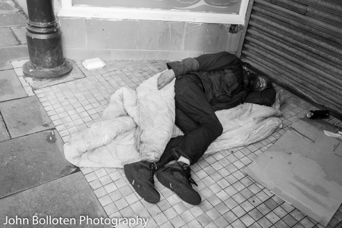 It is a common sight to see a number of homeless people sleeping outside in the city centre, where winter temperatures are almost constantly below 0 degrees. Most have drug and alcohol issues.