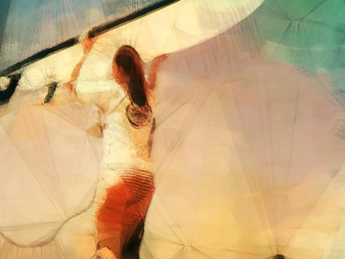 Geometry Lessons VI A woman carries her surf board overhead at Poipu Beach Park, Koloa, HI