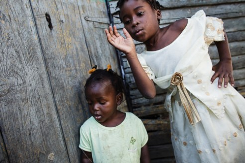 Girls Two girls of Haitian descent playing. They have no citizenship in any country.