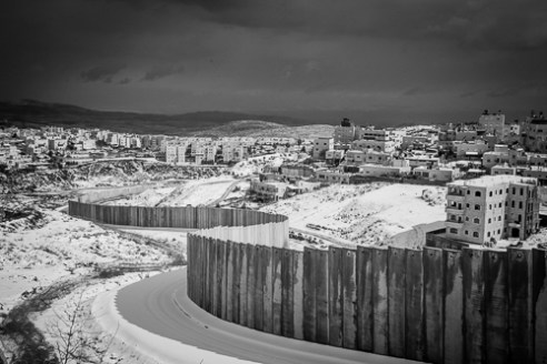 The separation wall between Jerusalem and 'Shoafat' Refugee Camp.