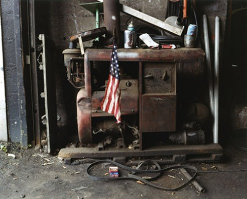 American flag in garage, 2002