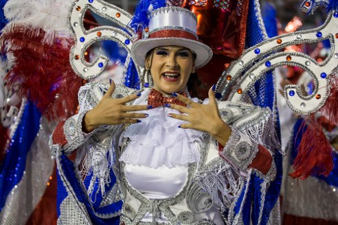 São Paulo, Brazil- February 7, 2016: Brazilian samba dancers performing in costume for the samba school Vai Vai at the Amhembi Sambadrome in Sao Paulo.
