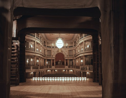 Schlosstheater, Ludwigsburg, 2015 ... a historic stage, note the wooden construction for the backdrops