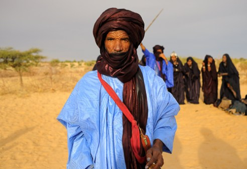 Tuareg swordsman in an Tuareg encampment. Outside of Timbuktu